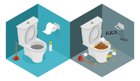 Clean and dirty toilet isometrics.  New outhouse and plunger. Puddle of urine. Roll of toilet paper. Interior furnishings of restroom Ilustração