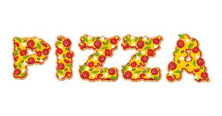 ピザのテキスト。ピザの食欲をそそるスライスの手紙。ファーストフードの Lettring。タイポグラフィの食品。イタリア料理のための原料: トマトとソ  イラスト・ベクター素材