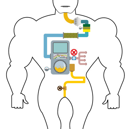 data system: Artificial digestive tract. Digestion person. Throat and stomach. Pipes and tanks. Gates and devices. processing system. Treatment  mechanism. Valves and pipes. Sensors and tank. Device with screen and tubes
