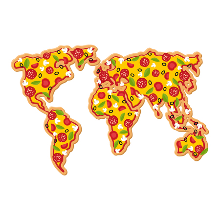 petite: World Map pizza. Continents of planet earth fast food. Geography National Italian food. Petite geographical map of world Illustration