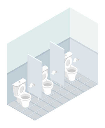 public toilet: Public toilet isometrics. Interior overall restroom. Toilets and partitions. atmosphere in outhouse Illustration