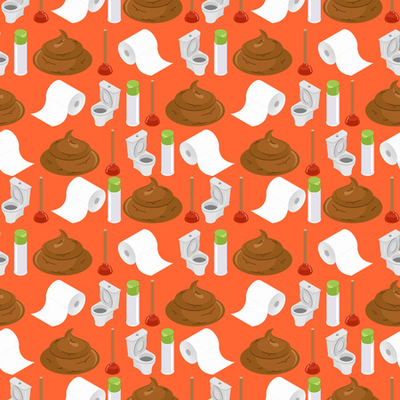 filth: Toilet background. toilet seamless pattern. Plunger and  roll of toilet paper ornament. Accessories for lavatory