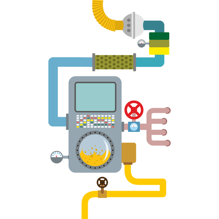 sensors: Processing system. working mechanism. Valves and pipes. Sensors and tank. Device with screen and tubes
