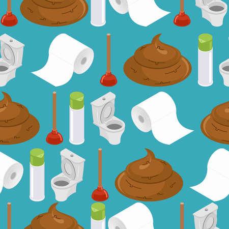 washroom: Toilet seamless pattern. Toilet and plunger. toilet paper. Background washroom accessories. Turd and air freshener ornament. wc texture. brown Poop Illustration