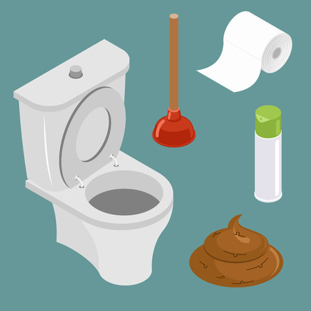 Restroom icon set. White toilet bowl. Spray air freshener. Red rubber plunger. Roll of toilet paper.