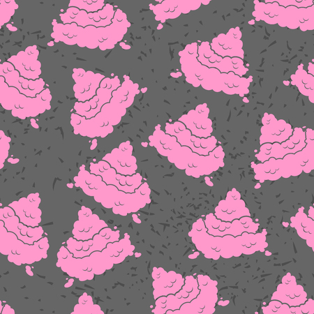 feces: Pink Turd seamless pattern.  Poop texture. piece of excrement grunge background. fantasy Funny feces