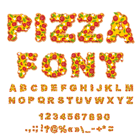 Pizza font. Letters dough. Food Alphabet. Fast food ABC. Italian food. fresh slice of pizza. numbers and punctuation marks. Tomatoes and mushrooms. Greens and sausage. Cheese and olives