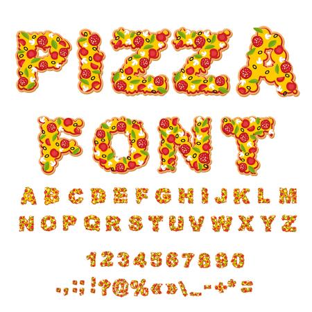 피자 글꼴입니다. 편지는 반죽. 음식 알파벳입니다. 패스트 푸드 ABC. 이탈리아 음식. 피자의 신선한 조각. 숫자와 문장 부호. 토마토와 버섯. 채소와 소