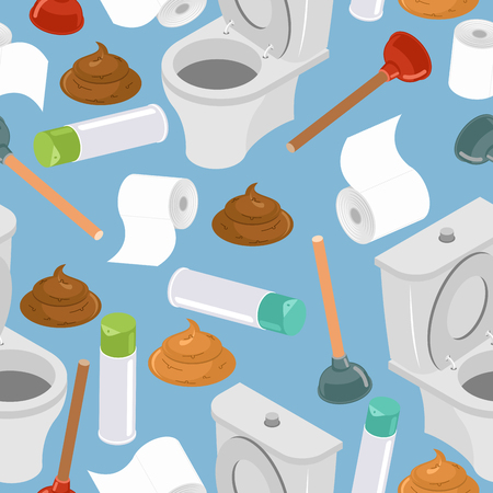 Toilet seamless pattern. Toilet and plunger.  toilet paper. Background washroom accessories. Turd and air freshener ornament.