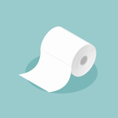 Rolle Toilettenpapier Isometrien. Spezialpapier zum Abwischen. Papierprodukt in sanitären und hygienischen Zwecken verwendet.