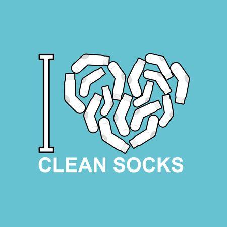 white socks: I love clean socks. heart symbol of pure white sock. Illustration