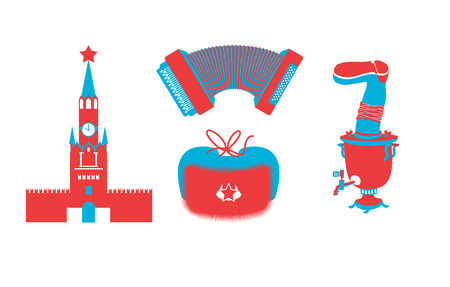 matreshka: Russian icons silhouette. Traditional Russian folk characters. Moscow Kremlin on Red Square. accordion and samovar. Russian national cap with earflaps Illustration