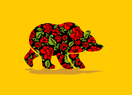 bruin: Russian Bear hohloma. National Folk painting of flowers. Wild animal of forest symbol of Russia Illustration