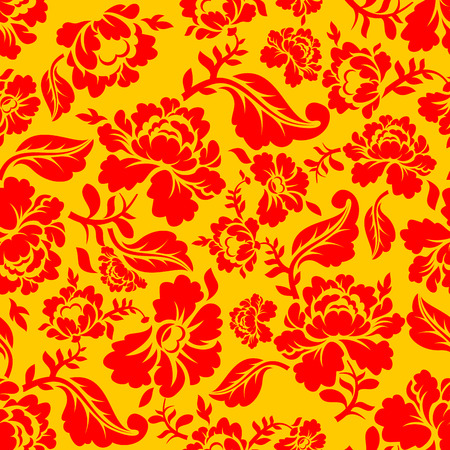 khokhloma: Khokhloma Russian national seamless pattern. Historic Cultural Decorative seamless design. Traditional Folk Ornament in Russia. Red flowers on gold yellow background. Patriotic Flower texture