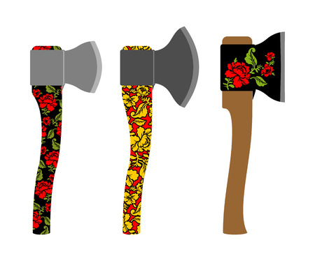russian pattern: Axe  traditional  Russian  pattern of colors - khokhloma. Weapons with Metal Blade. Carpenters tool.