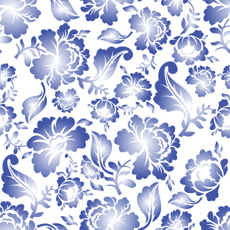gzhel: Gzhel Russian national seamless pattern. Traditional Russian retro ornament. Blue flowers on black background. vintage Patriotic Flower texture Illustration