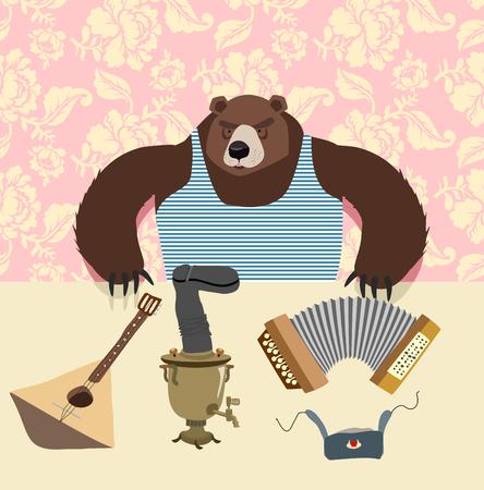 samovar: Russian bear with balalaika. Samovar. cartoon animal