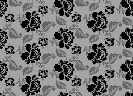 Black Rose seamless pattern. Retro floral texture. Vintage Flora ornament. Floral background. Dark colors. Traditional Russian ornament Illustration