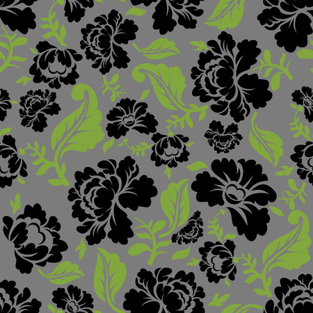 pastiche: Black Rose seamless pattern. Retro floral texture. Vintage Flora ornament. Floral background. Dark colors. Traditional Russian ornament Illustration