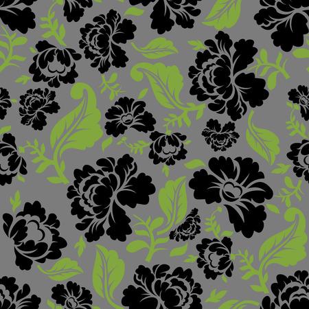 pastiche: Black Rose seamless pattern. Retro floral texture. Vintage Flora ornament. Floral background. Dark colors. Traditional Russian ornament Illustration