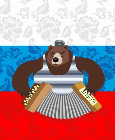 russian pattern: traditional bear Russia. Russian pattern background. Play an instrument