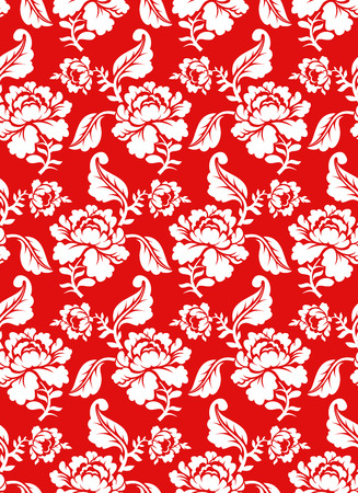 khokhloma: White rose on red background traditional Russian ornament Khokhloma. Floral seamless pattern. Vintage Flora texture. Floral background Illustration