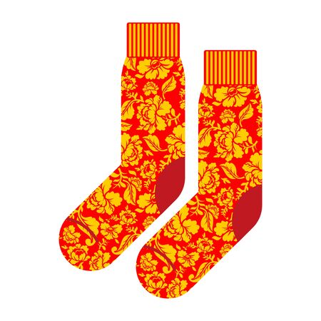 khokhloma: Socks for patriot of Russia. Clothing accessory Russian national pattern khokhloma. Traditional folk costumes of Russian people