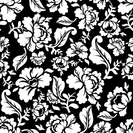 flora: White Rose seamless pattern. Retro floral texture. Vintage Flora ornaments. Floral background. White flowers on dark backdrop.Traditional Russian ornament
