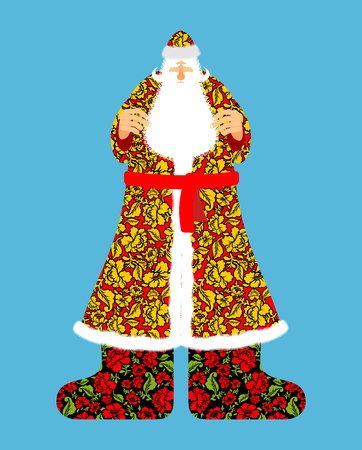 moroz: Russian Santa Claus. Grandfather Frost. Cloak in traditional ornament khokhloma. Bearded Santa for new year. Illustration
