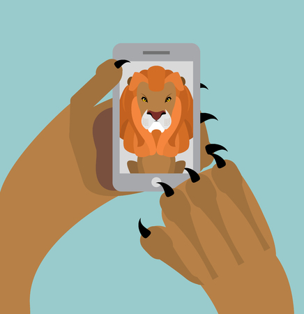 man looking out: Leo selfie. Lion photographed themselves on phone. Angry wild animal and smartphone Illustration