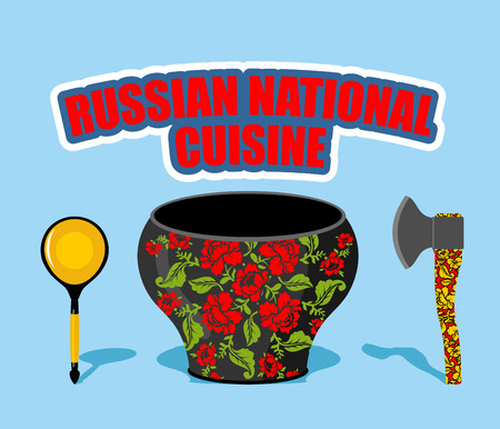 russian cuisine: Russian national cuisine. Pot with traditional floral patterns Khokhloma. Russians cutlery: AXe and wooden spoon. Illustration