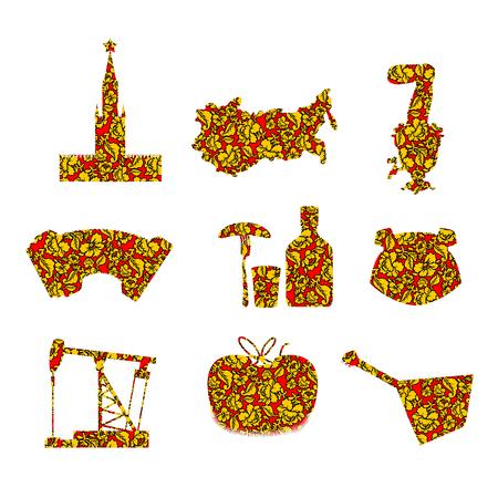 balalaika: Set symbols and icons for Russia: Kremlin and balalaika, oil rig and vodka, with earflaps and Samovar, dumplings and accordion. Flag of Russian Federation. Illustration