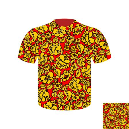 khokhloma: Russian folk mens T-shirt. Traditional ancient national clothes Russian people. National Khokhloma painting of flowers Illustration