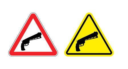 magnum: Warning sign of attention weapon. Dangers yellow sign gun. Magnum on red triangle. Set of road signs against firearms. Attention revolver