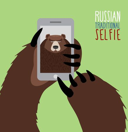 Selfie in Russia. Bear selfie. Bear paw holding a phone. Russian traditional ornament Illustration