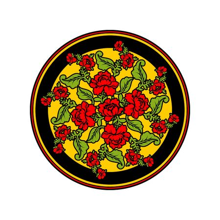hohloma: Russian national pattern painting Hohloma. Round decorated plate. Red rose and black background. Retro Floral ornament. Historic traditional decorative ornament culture