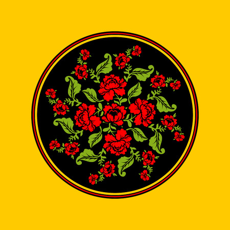 pastiche: Russian national pattern painting Hohloma. Round decorated plate. Red rose and black background. Retro Floral ornament. Historic traditional decorative ornament culture