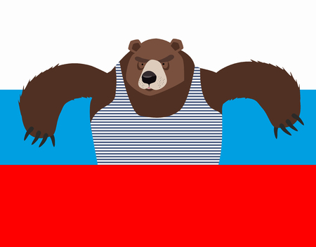 estereotipo: Russian patriot bear and Russia flag. Wild animal. World stereotype