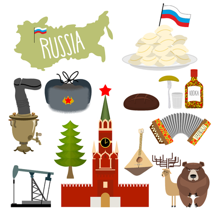 red square moscow: Russia set icons. Traditional objects of country. Russian national clothes. Association with  country. Moscow Kremlin and  Russian bear. Map States and oil. Wooden spoon and vodka.