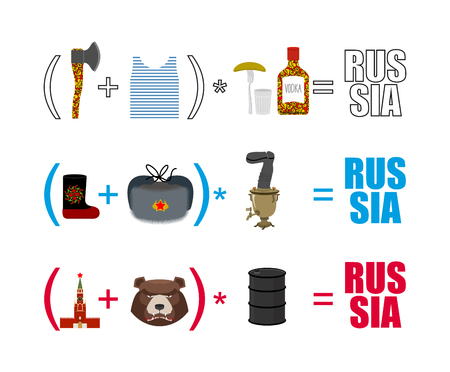 Russia mathematician. Mathematical Formula of Russian life. Traditional objects of country. Axe and vest. Moscow Kremlin and  bear. Wooden spoon and Ushanka. National algebra.