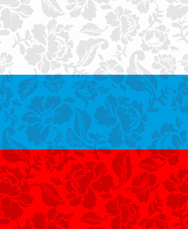 pastiche: Russian flag painted Khokhloma. National State sign. Russian patriotic ornament Illustration