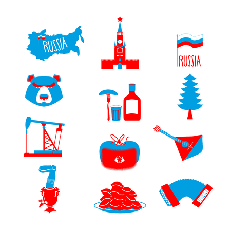 kremlin: Russia symbol set. Russian national character. State Traditional objects. Moscow Kremlin and bear. Map of Russia and smovar. Earflaps and balalaika. Dumplings and vodka Illustration