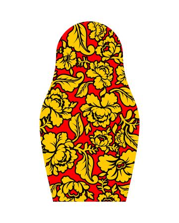 souvenir traditional: Russian matryoshka hohloma style. National Folk painting of flowers. Traditional Russian souvenir symbol