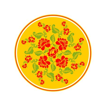 pastiche: Russian national pattern Hohloma. Retro Floral ornament. Round decorated dish. Historic traditional decorative ornament culture Illustration