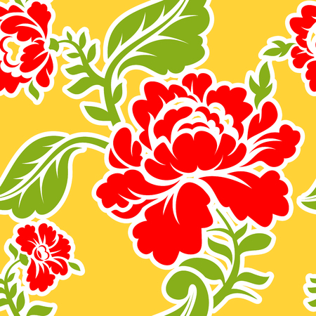pastiche: Russian traditional floral pattern. National ornament Khokhloma. Roses and leaves texture. Retro folk flower background