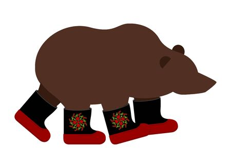 national animal: Russian Bear in boots. Russian National animal winter warm shoes. Illustration