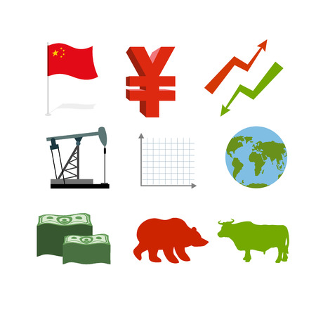 traders: Set of business graphics. Set inografika Chinese market. Collection of icons for stock traders. Arrow green and red. Oil derrick. Barrel of oil. Chinese money Yen. USA currency dollars. Much money. Planet Earth. Bull and Bear