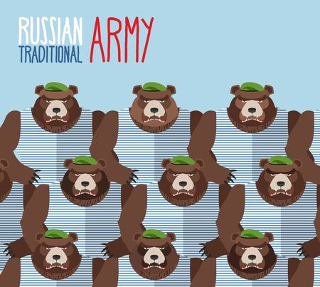 kodiak: Russian national army of bears in Green Berets. Military seamless pattern of animals