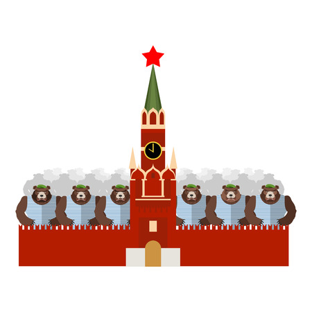 kremlin: Moscow Kremlin and bears. Many Russian evil animals sit in Moscow. Wild beasts stronger Patriots on State Protection