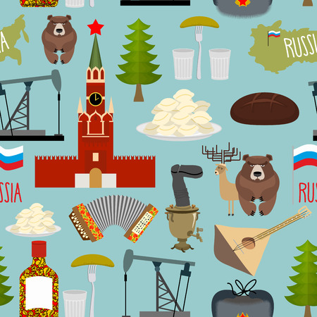 samovar: Russia sightseeing seamless pattern. Moscow Kremlin and Samovar, oil pump and squeeze. Ushanka and balalaika. Vector background of  Russian Federation. Illustration
